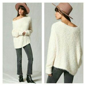 Super soft cream fuzzy sweater